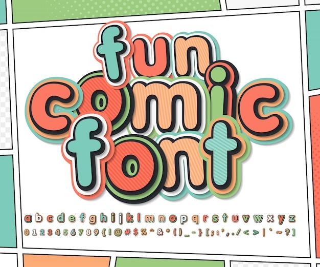 Kolorowa komiczna czcionka na stronie komiksu. alfabet dziecięcy w stylu pop-art. wielowarstwowe śmieszne litery i cyfry