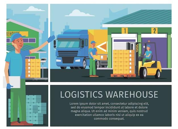 Kolorowa kompozycja logistyki magazynu płaskiego z pracownikami magazynu i człowiekiem prowadzącym wózek widłowy i transportującymi pudełka do załadunku ciężarówek
