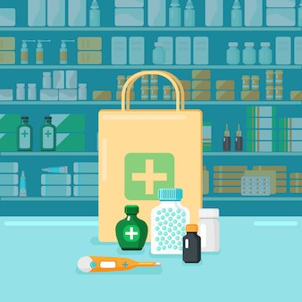 Kolorowa koncepcja farmacji