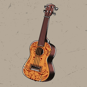 Kolorowa koncepcja gitary akustycznej