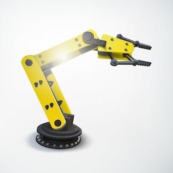 Kolorowa koncepcja inżynierii przemysłowej z realistycznym mechanicznym ramieniem robota na białym tle