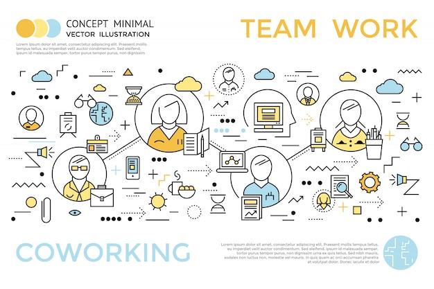 Kolorowa koncepcja pozioma coworkingu w stylu liniowym z tytułem i opisami ilustracji wektorowych pracy zespołowej