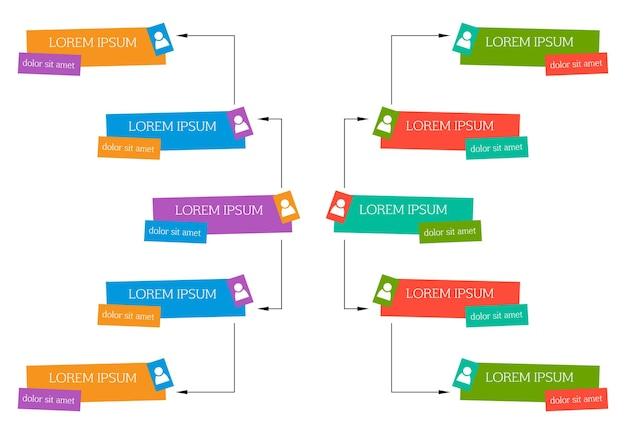 Kolorowa koncepcja struktury biznesowej, schemat organizacyjny firmy schemat z ikonami ludzi. ilustracja wektorowa.