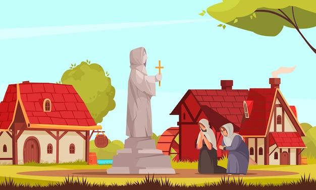 Kolorowa kreskówka średniowieczna kompozycja ludzi dwie kobiety modlące się przy pomniku kościelnym