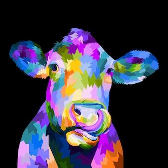 Kolorowa krowa głowa pop-art portret projekt plakatu na białym tle dekoracja