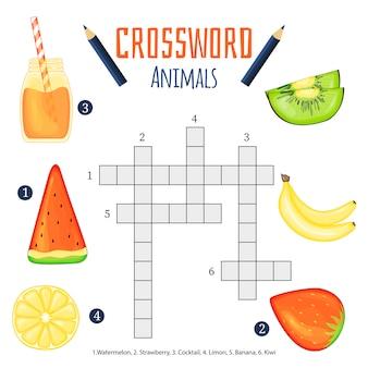 Kolorowa krzyżówka, gra edukacyjna dla dzieci o zwierzętach