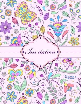 Kolorowa kwiecista zaproszenie karta