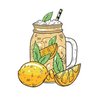Kolorowa lemoniada lub koktajl cytrynowy w słoiku. ręcznie rysować szkic