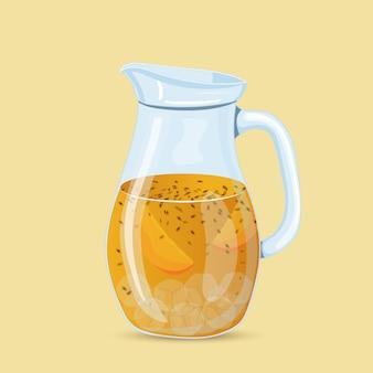 Kolorowa lemoniada mango i marakui ilustracja wektorowa na białym tle