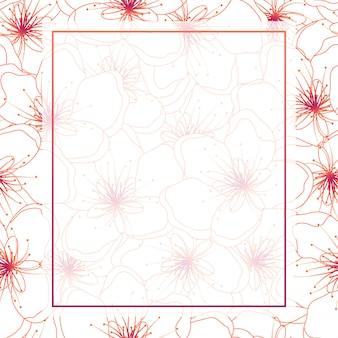 Kolorowa linia brzoskwiniowy kwiat rama tło wiśni