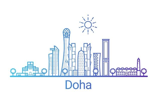 Kolorowa linia gradientu miasta doha