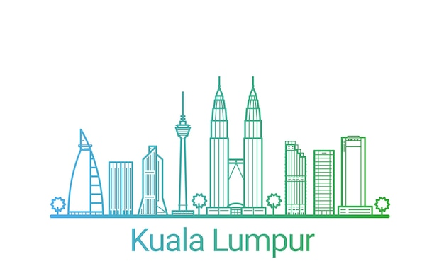 Kolorowa linia gradientu miasta kuala lumpur