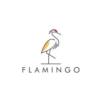 Kolorowa linia logo flamingo
