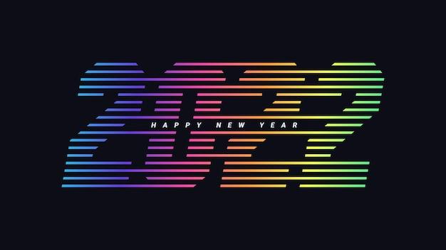 Kolorowa linia szczęśliwego nowego roku 2022 celebracja tła