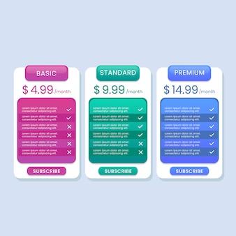 Kolorowa lista cenników dla strony internetowej