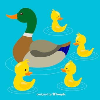 Kolorowa macierzysta kaczka i kaczątka