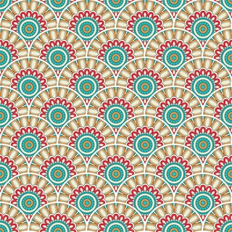 Kolorowa mandala bezszwowa deseniowa ilustracja
