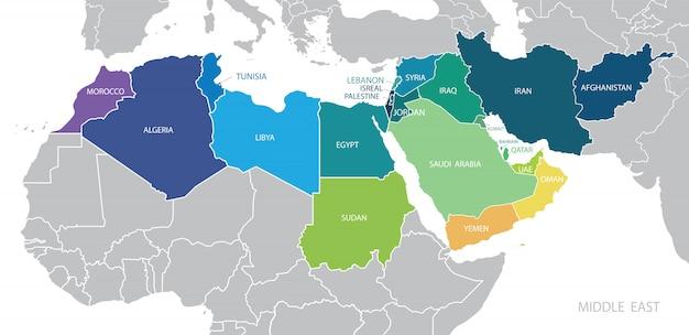 Kolorowa mapa bliskiego wschodu z nazwami państw członkowskich.