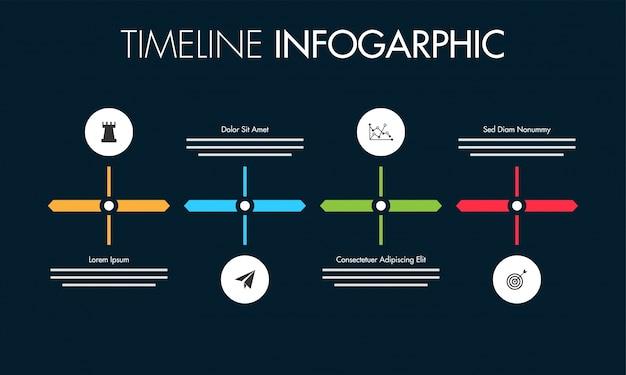 Kolorowa mapa drogowa układ infografiki z 4 krokami.