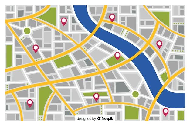 Kolorowa mapa miasta z czerwonymi markerami