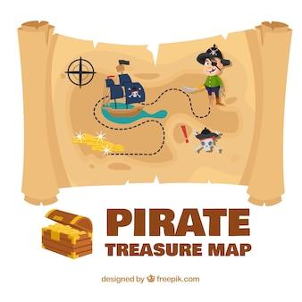 Kolorowa mapa piratów skarbu