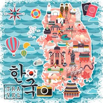 Kolorowa mapa podróży korei południowej - korea w koreańskich słowach w lewym dolnym rogu