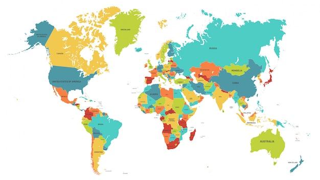 Kolorowa mapa świata. ilustracja mapy polityczne, kolorowe kraje świata i nazwy krajów