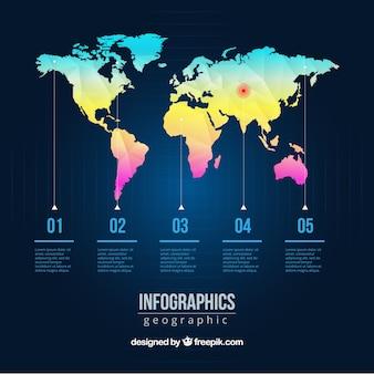Kolorowa mapa świata infografika