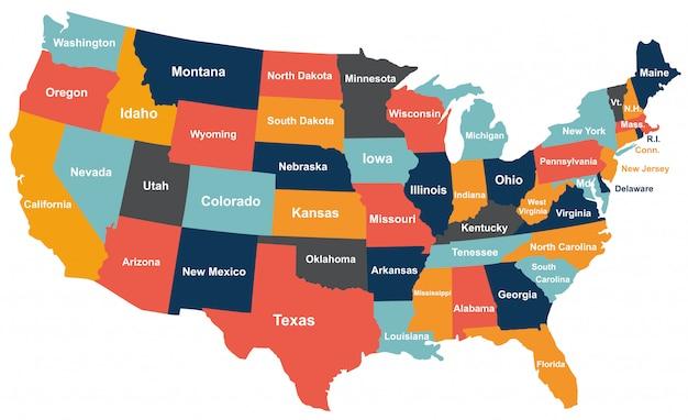 Kolorowa mapa usa z państwami.