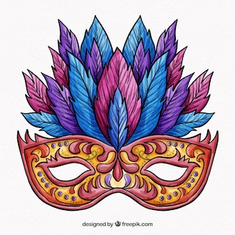 Kolorowa maska karnawałowa z piórami
