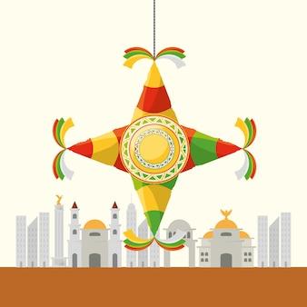 Kolorowa meksykańska ikona nad miasta tłem