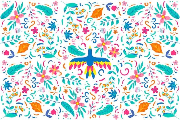 Kolorowa meksykańska tapeta płaska