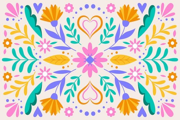 Kolorowa meksykańska tapeta z kwiatami i liśćmi