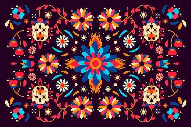 Kolorowa meksykańska tapeta z kwiatami
