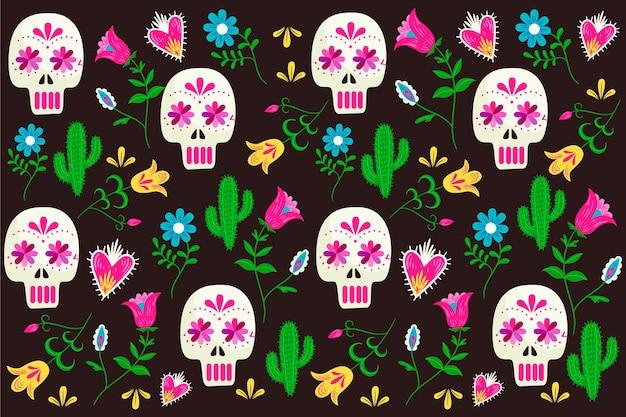 Kolorowa meksykańska tapeta z kwiatowymi ornamentami