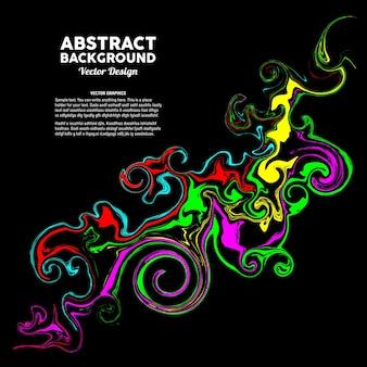 Kolorowa mieszana płynna farba na czarnym tle nadaje się do projektowania ulotki z banerem