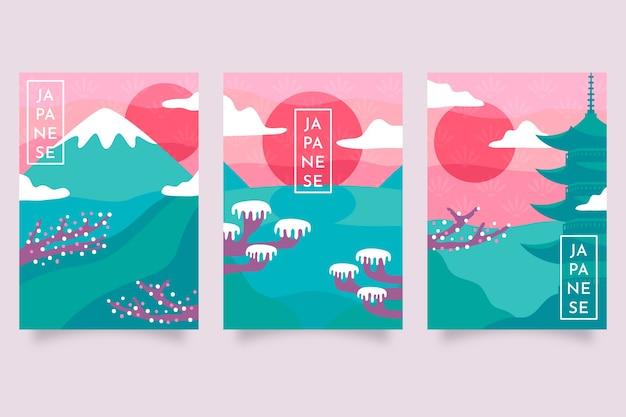 Kolorowa minimalistyczna japońska kolekcja okładek
