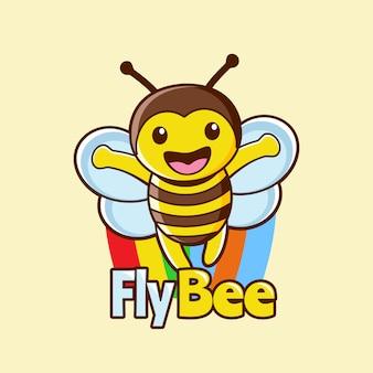 Kolorowa mucha pszczoła maskotka z logo tęczy
