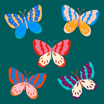 Kolorowa naklejka motyla, zestaw wektorów w stylu pop-art