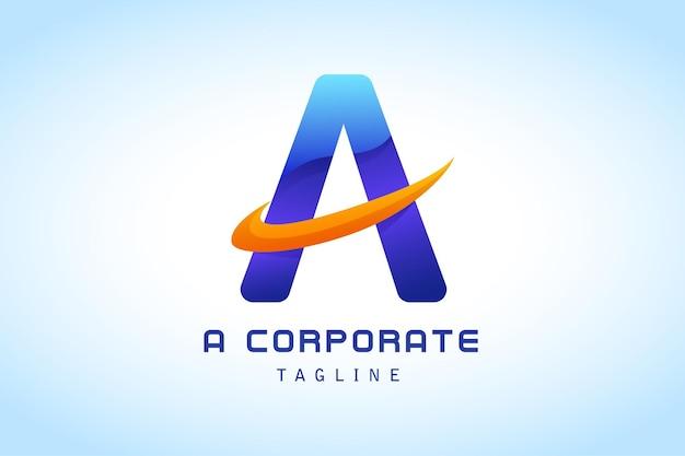 Kolorowa niebieska litera a z pomarańczowym logo gradientu kleszcza dla firmy