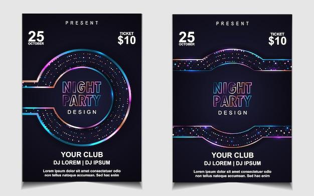 Kolorowa nocna impreza taneczna ulotka lub projekt plakatu
