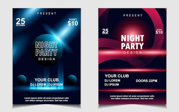 Kolorowa nocna ulotka muzyczna z muzyką taneczną lub projekt plakatu