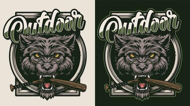 Kolorowa odznaka rocznika dzikie zwierzę