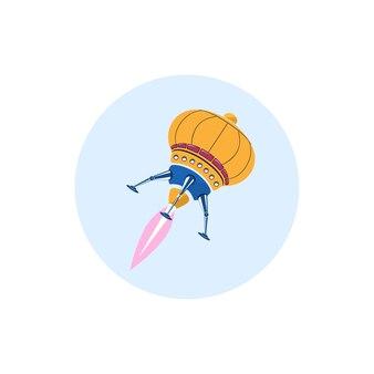 Kolorowa okrągła ikona rakiety, ikona ufo, ilustracji wektorowych