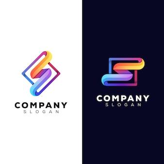 Kolorowa pierwsza litera s z kwadratowym logo szablon projektu