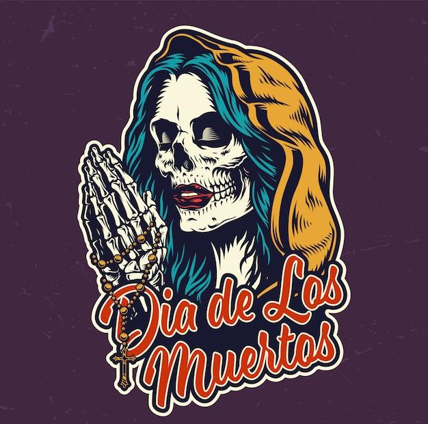 Kolorowa plakietka dia de los muertos