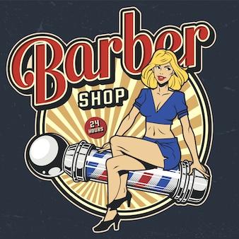 Kolorowa plakietka vintage dla zakładów fryzjerskich