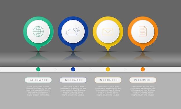 Kolorowa plansza na osi czasu dla biznesu, start-upu, edukacji lub technologii