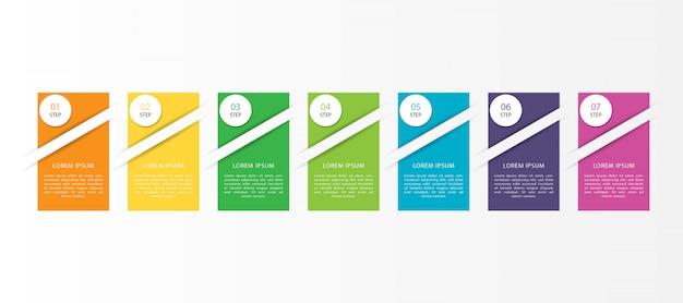 Kolorowa plansza z 7 krokami lub opcjami