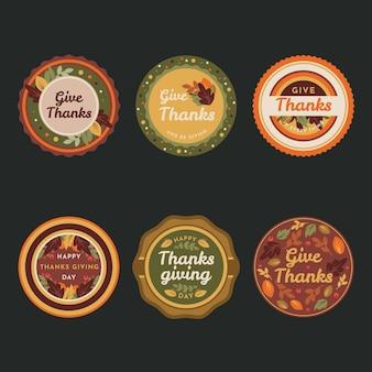 Kolorowa płaska konstrukcja etykiety dziękczynienia